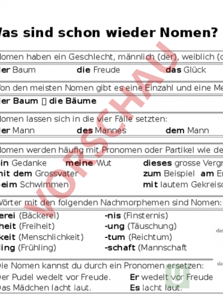 Arbeitsblatt: Merkblätter Wortarten - Spanisch - Grammatik