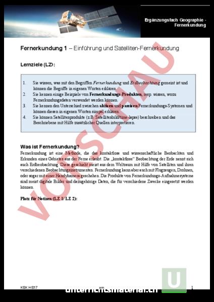 Arbeitsblatt: Fernerkundung - Geographie - Anderes Thema