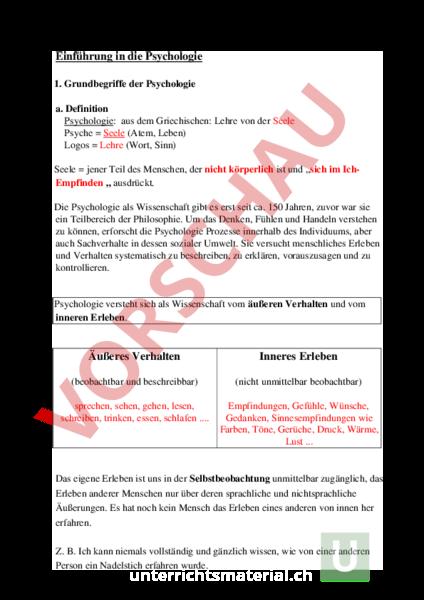 Arbeitsblatt: Pädagogik und Psychologie - Pädagogik und Psychologie ...