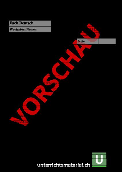 Arbeitsblatt: Deutschprüfung Nomen - Deutsch - Grammatik