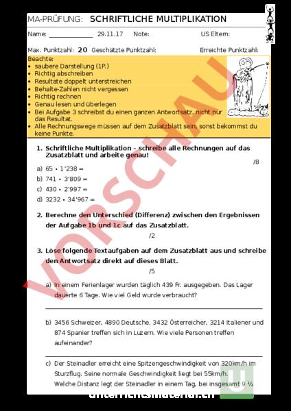 Arbeitsblatt: schriftliche Multiplikation - Mathematik ...