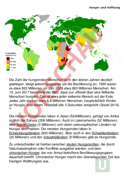 Arbeitsblatt: Hunger und Hoffnung - Geschichte - Gemischte Themen