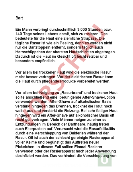 Arbeitsblatt: Vortrag Bart - Lebenskunde - Persönlichkeitsentwicklung