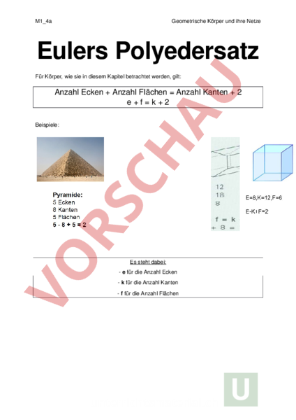 Arbeitsblatt: Eulers Polyedersatz - Geometrie - Körper / Figuren
