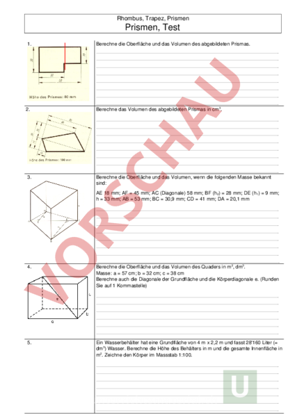 www.unterrichtsmaterial.ch - Geometrie - Flächen - Rhomus Trapez ...