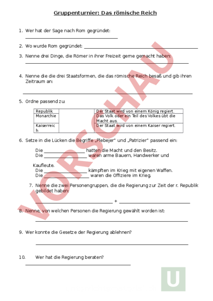 Arbeitsblatt: Gruppenturnier - Das römische Reich - Geschichte ...