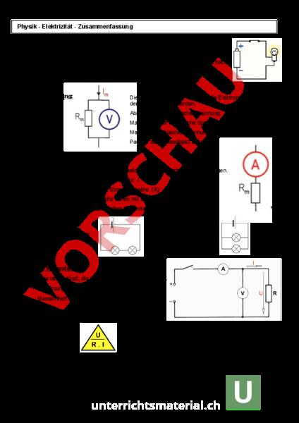 Arbeitsblatt Zusammenfassung Elektrizitätslehre Physik
