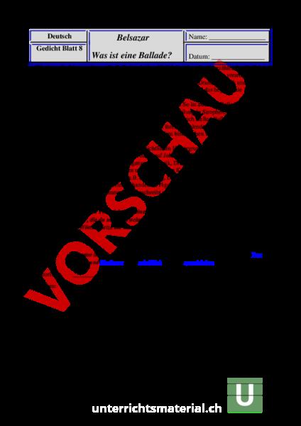 Arbeitsblatt: Belsazar / Ballade - Deutsch - Anderes Thema