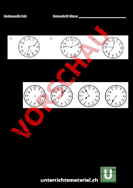 Arbeitsblatt: Test Zeit - Mathematik - Sachrechnen / Grössen