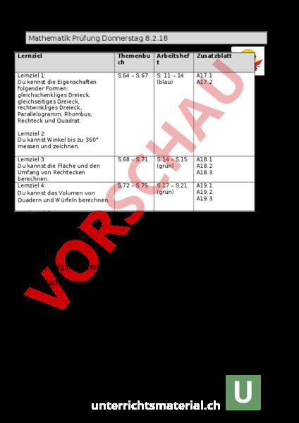 Arbeitsblatt: Lernziele für Formen Volumen und Flächen - Mathematik ...