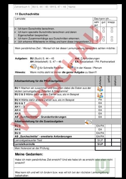 Arbeitsblatt: Arbeitsplan LU 20 Durchschnitte Zahlenbuch 5 ...