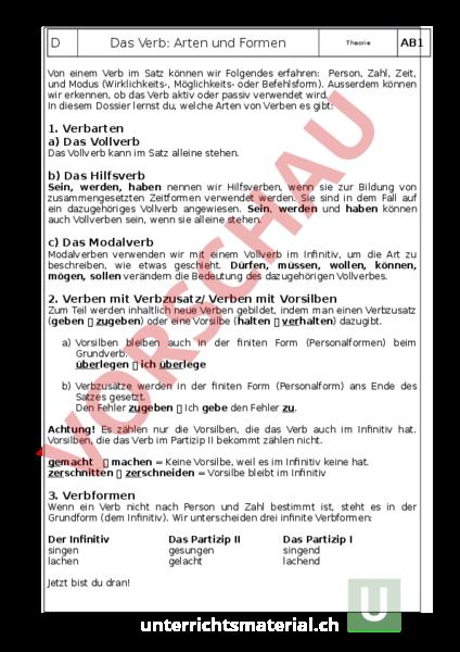 Wunderbar Arten Von Verben Arbeitsblatt Bilder - Arbeitsblätter für ...