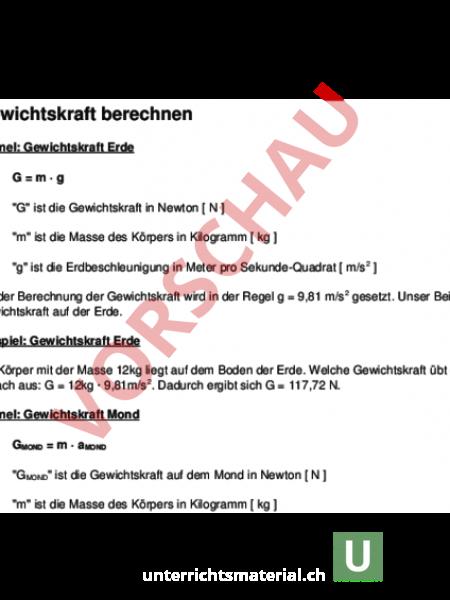 www.unterrichtsmaterial.ch - Physik - Gemischte Themen - Kraft und ...