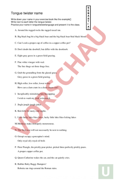 Arbeitsblatt: Tongue twister - Englisch - Wortschatz