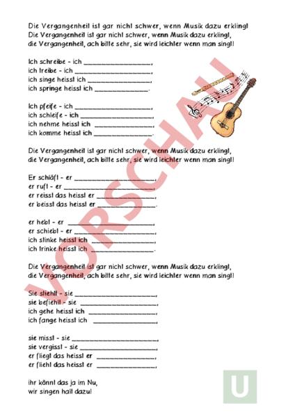 arbeitsblatt pr teritum ben mit lied deutsch grammatik. Black Bedroom Furniture Sets. Home Design Ideas
