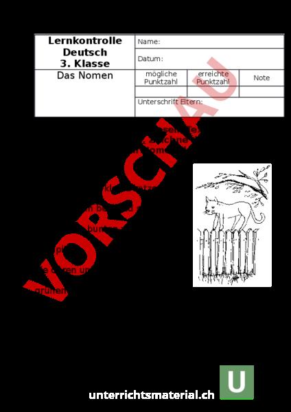 arbeitsblatt nomen lk 3 klasse deutsch grammatik. Black Bedroom Furniture Sets. Home Design Ideas
