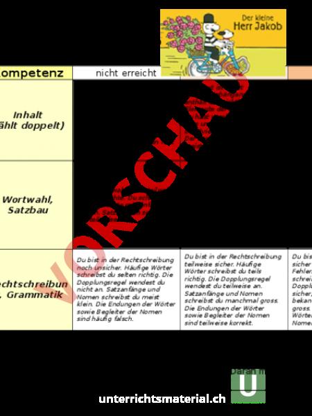 Arbeitsblatt: Beurteilungsraster Bildergeschichte - Deutsch - Texte ...