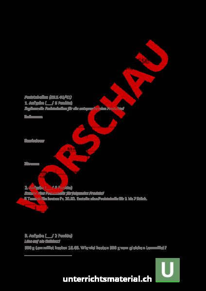 Arbeitsblatt: Mathematiktest 5.Klasse (Preisberechnungen - Diagramme ...