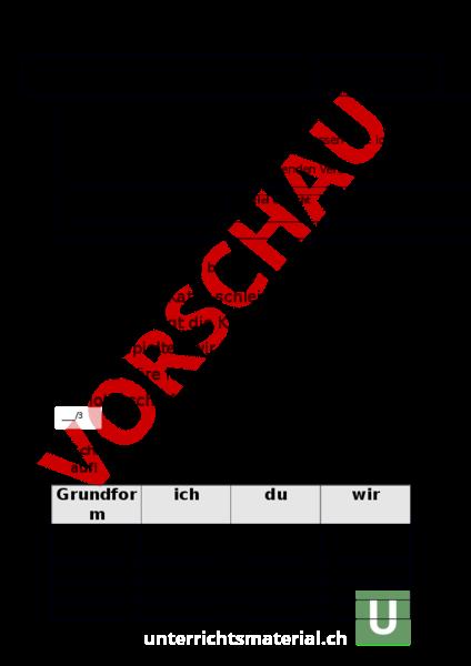 Arbeitsblatt Verben Prüfung 2 Klasse Deutsch Grammatik