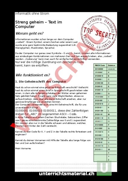 Arbeitsblatt: Informatik ohne Strom - Streng geheim - Informatik ...