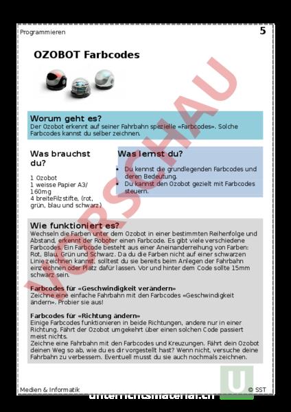 Arbeitsblatt: Ozobot, Farbcodes - Informatik - Programmieren
