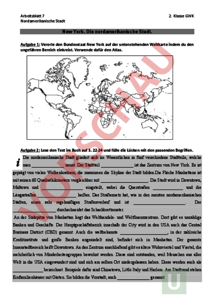 Arbeitsblatt: Arbeitsblatt Nordamerikanische Stadt - Geographie ...