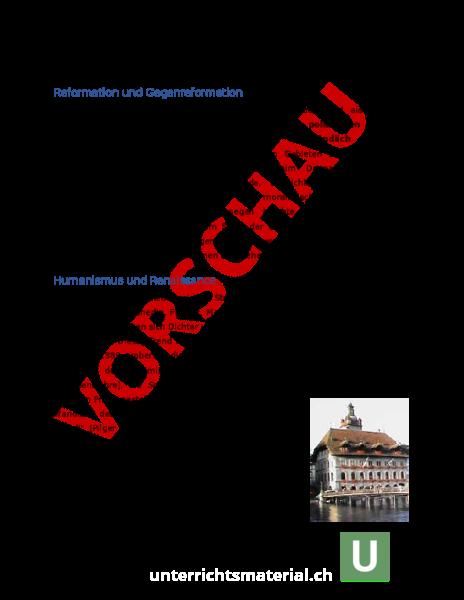 Arbeitsblatt: Reformation Schweiz - Geschichte - Neuzeit