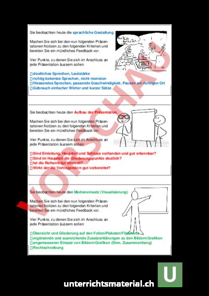 Arbeitsblatt: Feedback_Präsentation_Mein Lehrberuf - Lebenskunde ...
