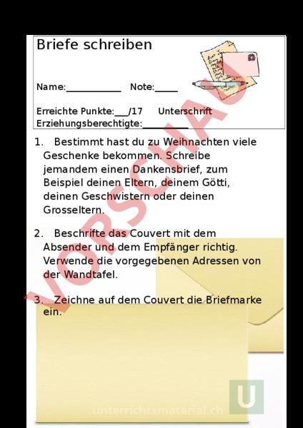 Arbeitsblatt Test Briefe Schreiben Deutsch Texte Schreiben