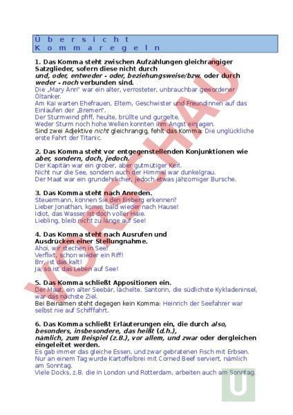 Arbeitsblatt übersicht Kommaregeln Deutsch Grammatik