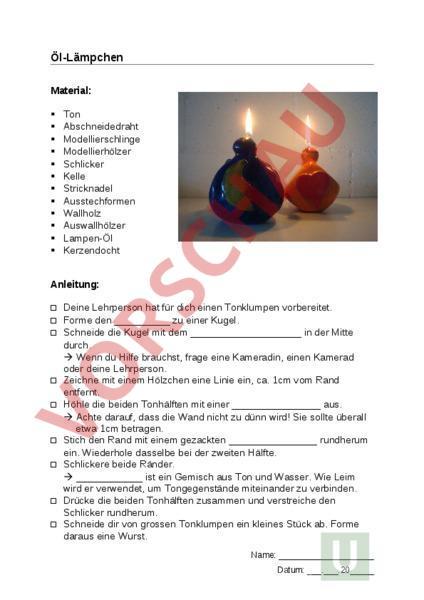 Arbeitsblatt: Werken mit Ton - Werken / Handarbeit - Ton / Töpfern