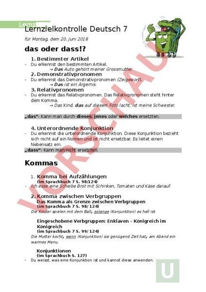 arbeitsblatt lernziele das dass und kommaregeln deutsch rechtschreibung. Black Bedroom Furniture Sets. Home Design Ideas