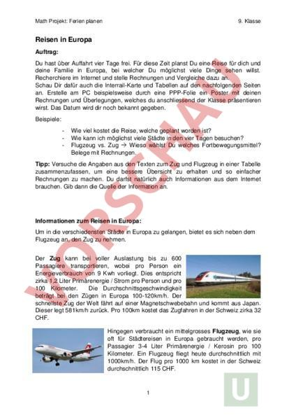Arbeitsblatt: Math Projekt_Ferien planen - Mathematik - Gemischte Themen