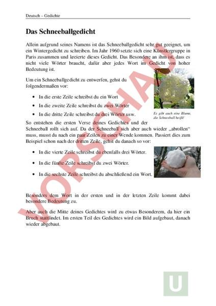 Arbeitsblatt: Schneeballgedicht - Französisch - Texte schreiben