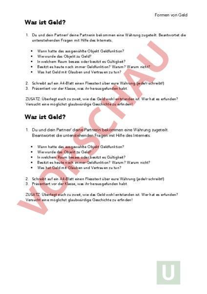 www.unterrichtsmaterial.ch - Deutsch - Anderes Thema - Was ist Geld ...