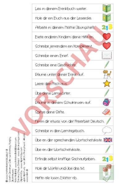 Arbeitsblatt: Ich bin fertig - Sticks - Administration / Methodik ...