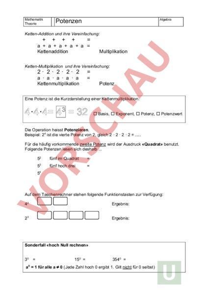 Arbeitsblatt: Potenzen Theorie - Mathematik - Algebra