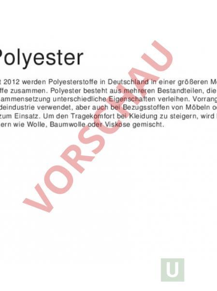Arbeitsblatt: Materialkunde Polyester - Werken / Handarbeit - Textil
