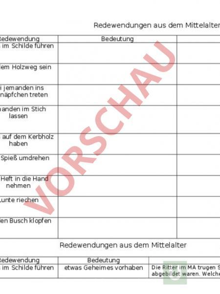 Arbeitsblatt: Redewendungen im Mittelalter - Lebenskunde - Anderes Thema