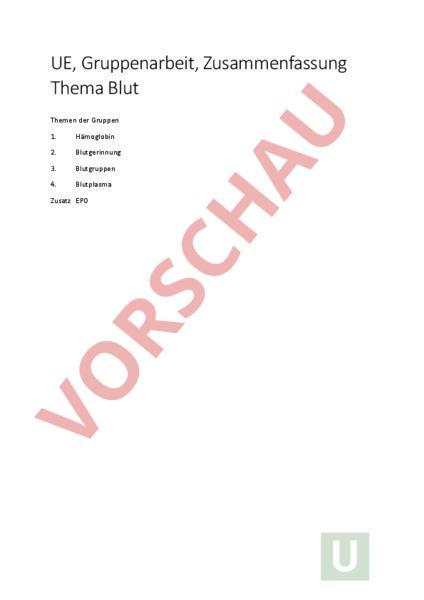 Arbeitsblatt: Blutgerinnung PPT - Biologie - Anatomie / Physiologie