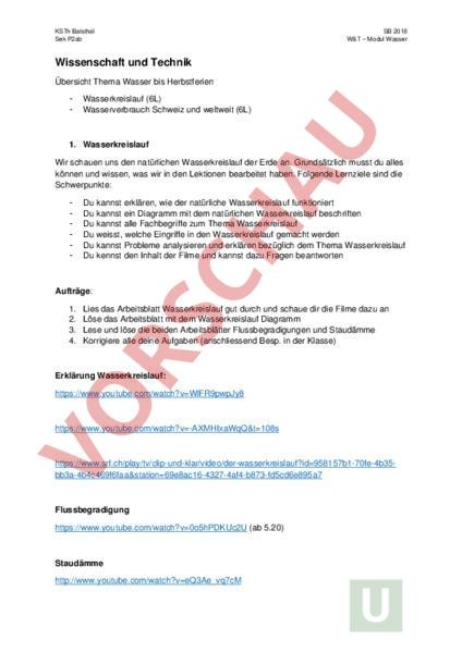 Arbeitsblatt: Modul Wasser W&T - Diverses / Fächerübergreifend ...