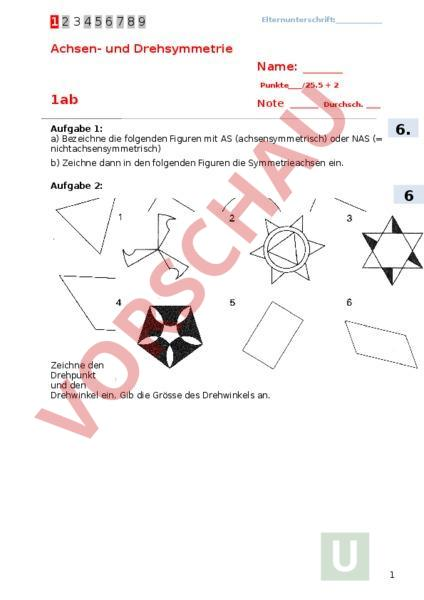 arbeitsblatt pr fung achsen und drehsymmetrie mathematik 1 geometrie spieglen. Black Bedroom Furniture Sets. Home Design Ideas
