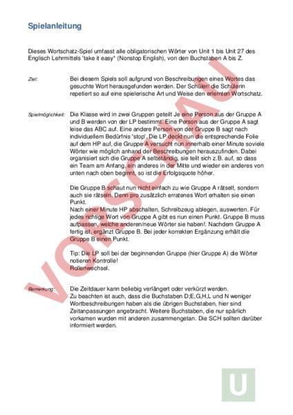 Arbeitsblatt: ABC DRS 3 - Deutsch - Wortschatz