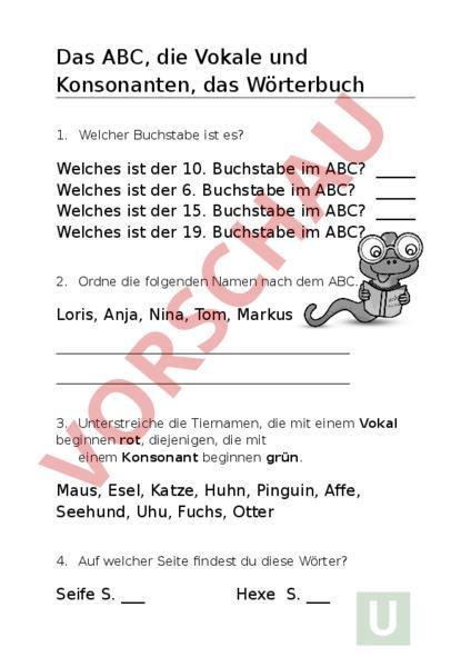 Arbeitsblatt: Test ABC, Vokale und Konsonanten - Deutsch - Grammatik