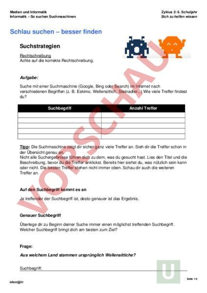 Arbeitsblatt: Medien und Informatik - Informatik - Internet