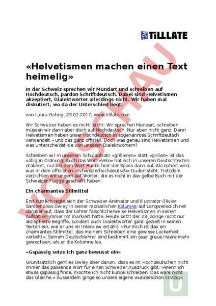 Arbeitsblatt: Helvetismen Zeitungsbericht - Deutsch - Wortschatz