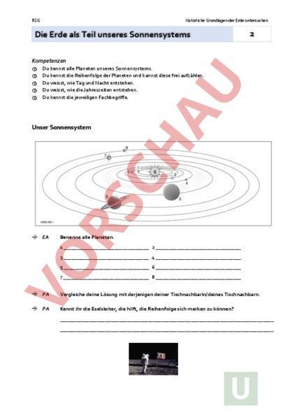 Arbeitsblatt: AB 2 Die Erde im Sonnensystem - Geographie - Anderes Thema
