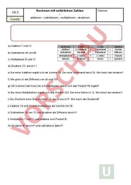 Arbeitsblatt: Natürliche Zahlen - Mathematik - Schriftliches Rechnen