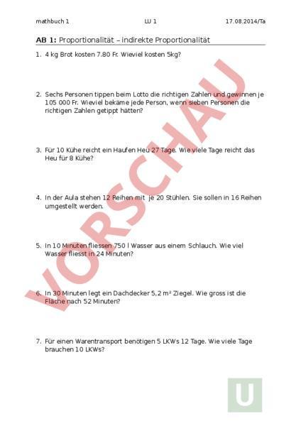 Arbeitsblatt: Mathbuch 1 LU1 Arbeitsblatt - Mathematik - Dreisatz