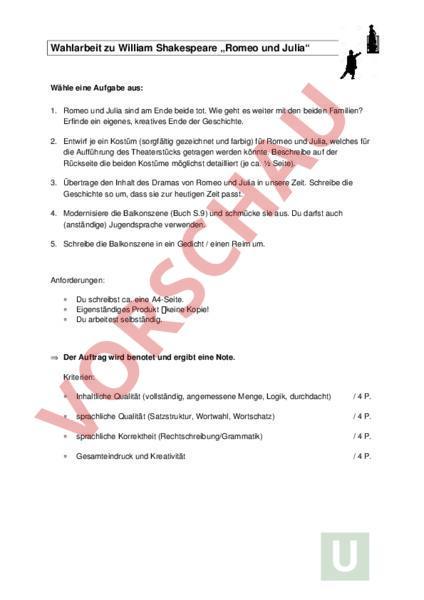 Arbeitsblatt Wahlarbeit Zu Romeo Und Julia Sprachstarken 9